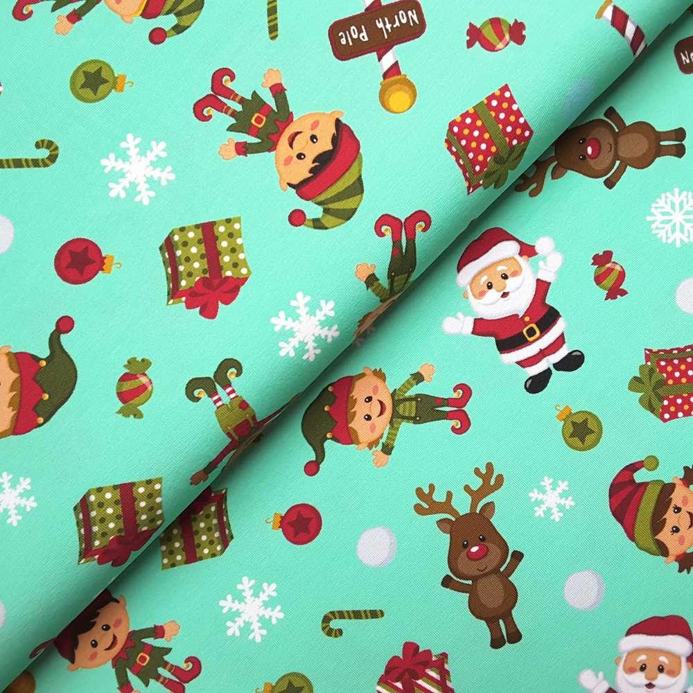 Jersey * Weihnachten * Santa Claus und seine Elfen * mintgrün ...