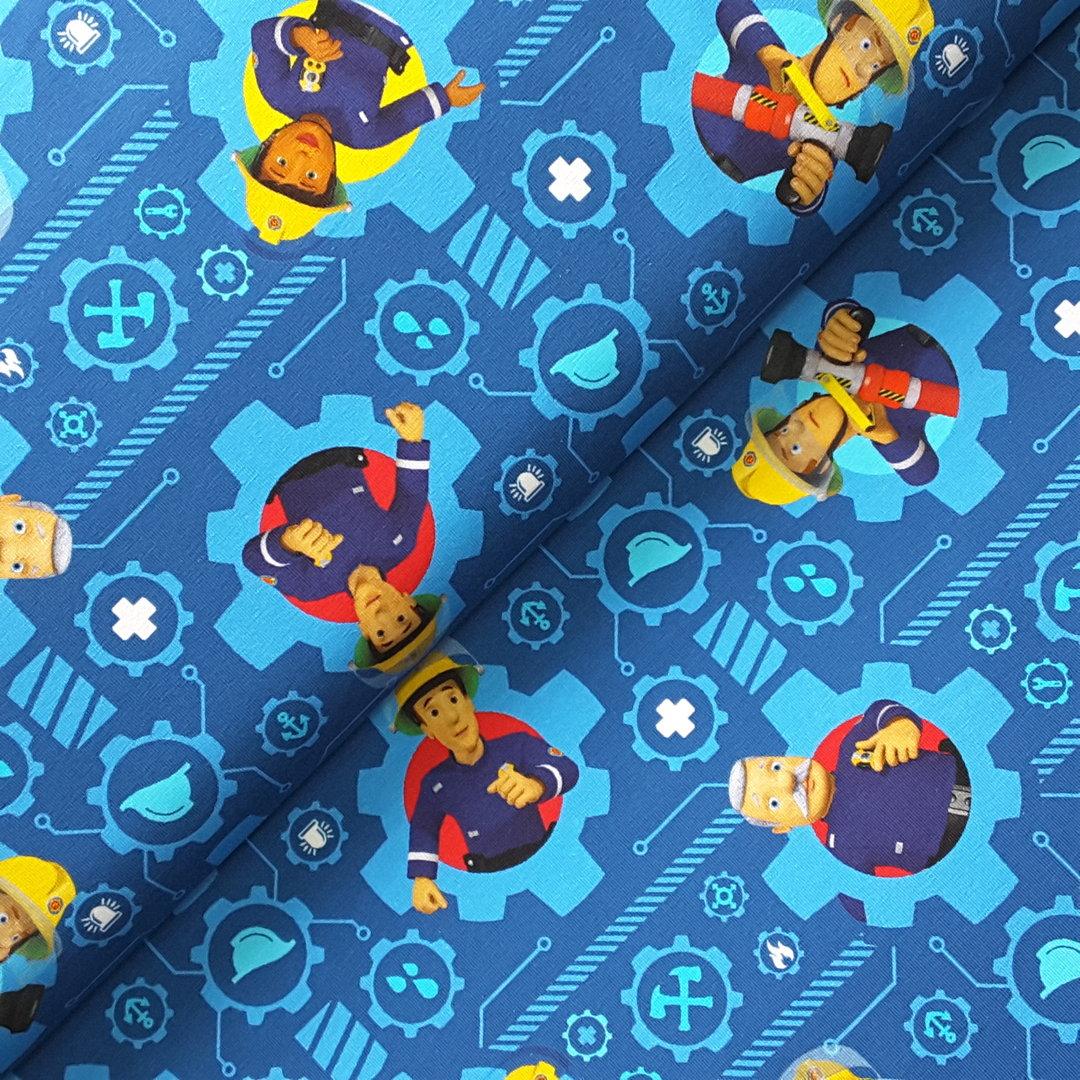 jersey feuerwehrmann sam blau tr ume aus stoff. Black Bedroom Furniture Sets. Home Design Ideas