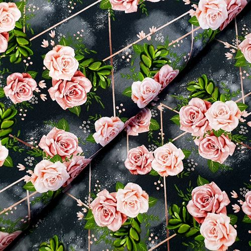 Jersey * Roses and Lines * grau