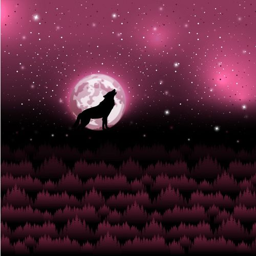 Sommersweat * Wolf Moon 2.0 by Lycklig Design * Panel * pink