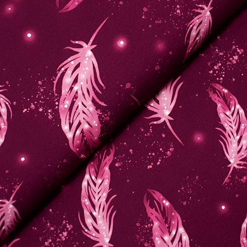 Sommersweat * Flying Feather * pink auf dunklem weinrot