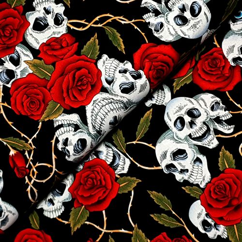 Baumwolldruck * Skulls and Roses